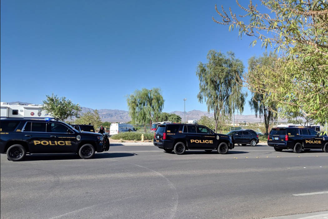 North Las Vegas police are investigating a fatal shooting near Canyon Springs High School. (Richard Brian/Las Vegas Review-Journal)