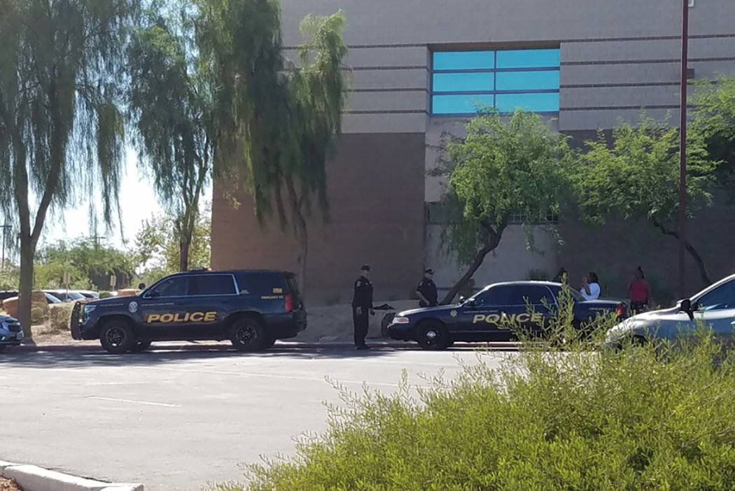 North Las Vegas police are investigating a fatal shooting near Canyon Springs High School. (Mike Shoro/Las Vegas Review-Journal)