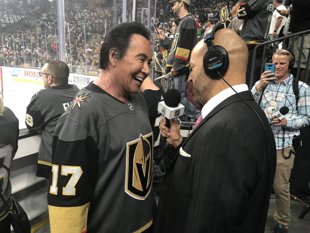Wayne Newton is shown being interviewed by Steve Goldstein of NBC Sports Radio at T-Mobile Arena prior to the Vegas Golden Knights-Winnipeg Jets Western Conference Finals Stanley Cup Playoff game. ...