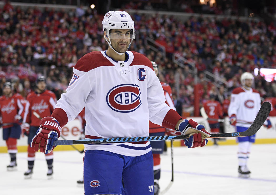 Montreal Canadiens left wing Max Pacioretty (67) looks on during the second period of an NHL hockey game against the Washington Capitals, Friday, Jan. 19, 2018, in Washington. (AP Photo/Nick Wass)