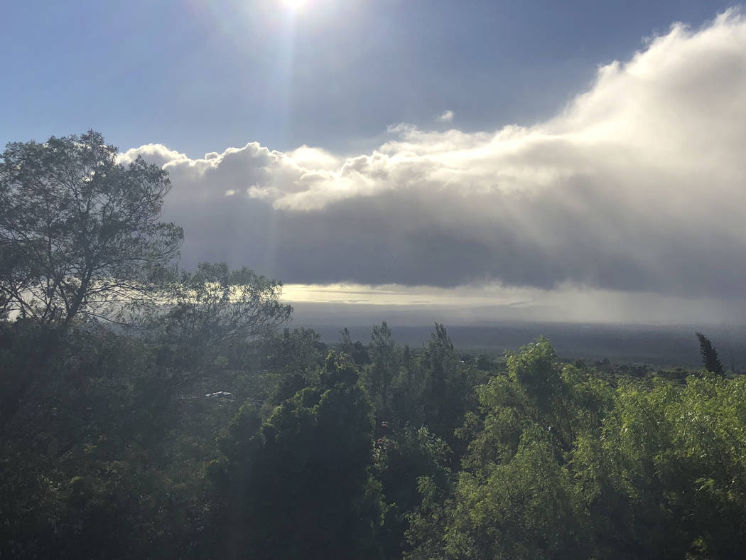 This Tuesday, Sept. 11, 2018 photo provided by Yuki Lei Sugimura shows the view from Kula, Hawaii, on the slopes of Haleakala mountain on Maui as residents await the arrival of Tropical Storm Oliv ...