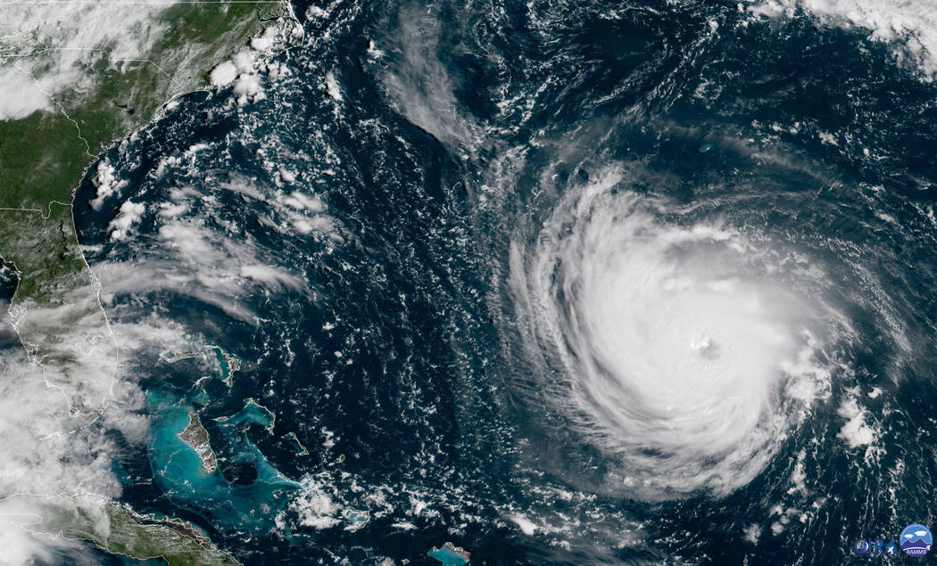 This GOES East satellite image taken Tuesday, Sept. 11, 2018, at 10:30 a.m. EDT, and provided by NOAA shows Hurricane Florence in the Atlantic Ocean as it threatens the U.S. East Coast, including ...