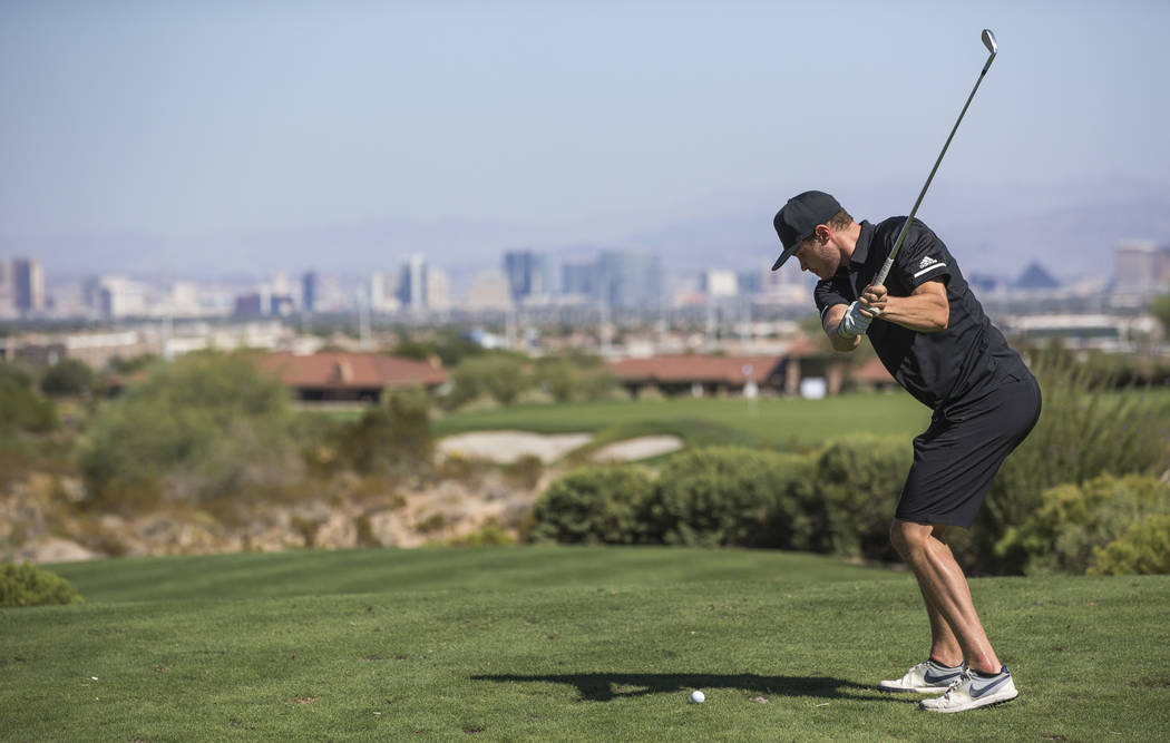 Vegas Golden Knights defenseman Brayden McNabb tees off during the Vegas Golden Knights Inaugural Charity Golf Classic at BearÕs Best golf course in Las Vegas on Tuesday, Sept. 11, 2018. Rich ...