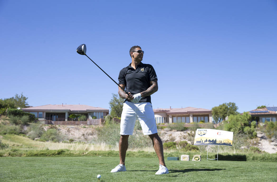 Vegas Golden Knights right wing Ryan Reaves prepares to tee off during the Vegas Golden Knights Inaugural Charity Golf Classic at BearÕs Best golf course in Las Vegas on Tuesday, Sept. 11, 20 ...