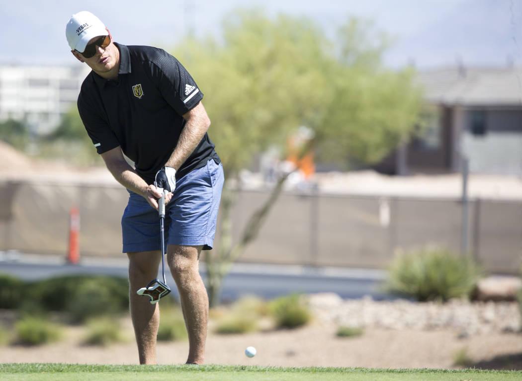 Vegas Golden Knights defenseman Nate Schmidt putts during the Vegas Golden Knights Inaugural Charity Golf Classic at BearÕs Best golf course in Las Vegas on Tuesday, Sept. 11, 2018. Richard B ...