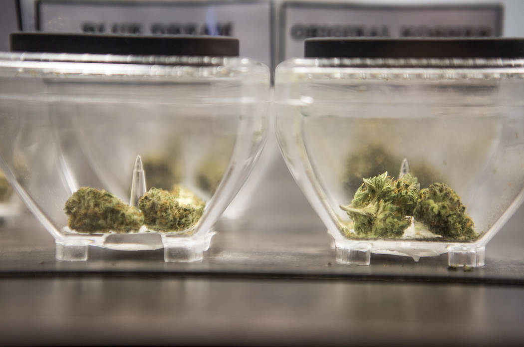 Marijuana is displayed on sale at Exhale Nevada on Friday, April 23, 2018. Patrick Connolly Las Vegas Review-Journal @PConnPie