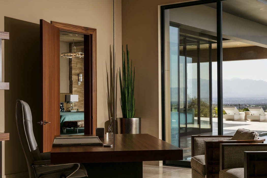 The office has a great view of the Las Vegas Strip and the pool. (Shay Velich)