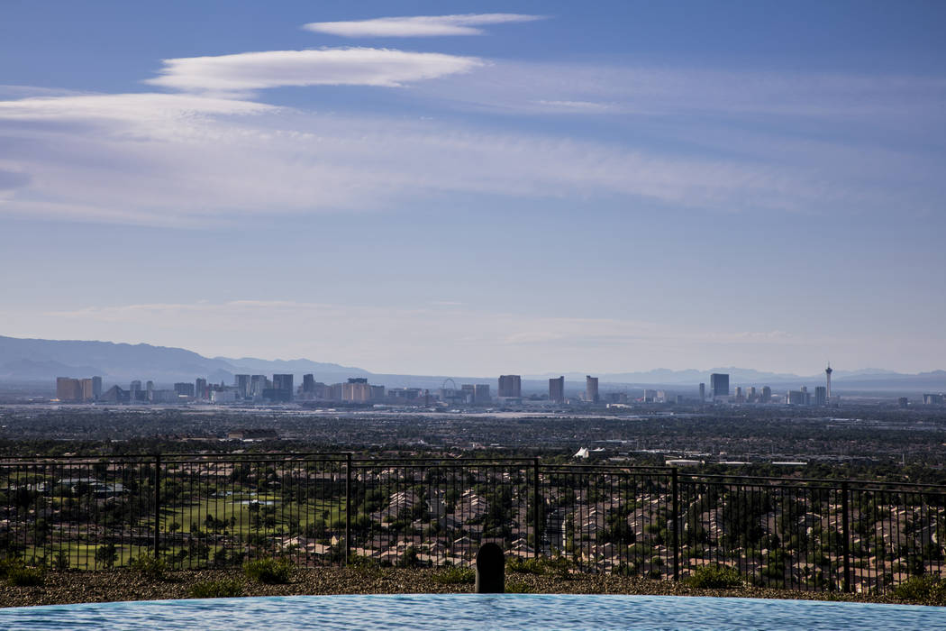 The view of the Las Vegas Strip from the Ascaya hillside home. (Sun West Custom Homes)