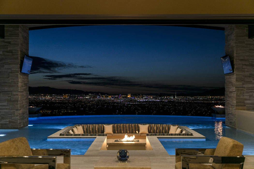 The view of the Las Vegas Strip from the $15.5M Ascaya home is on the edge of 90 feet of water. (Sun West Custom Homes)