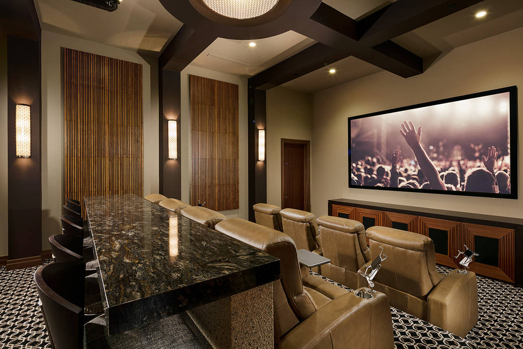 The home theater. (Sun West Custom Homes)