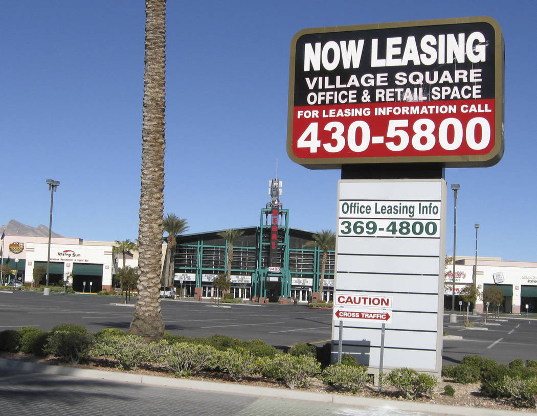 A sign advertises office and retail space at the Village Square mall on Sahara Avenue at Ft. Apache Road on Jan. 16, 2009, in Las Vegas. Retail space is opening up area malls as more business are ...