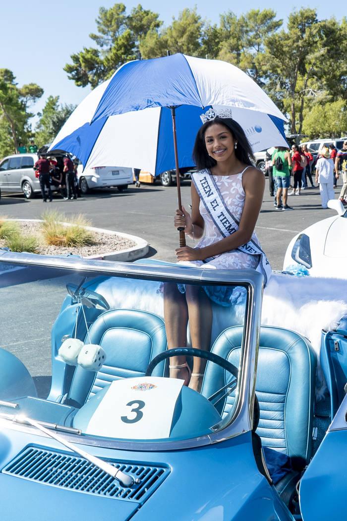 Miss Teen El Tiempo Noelani Mendoza poses for a photograph before the El Tiempo Fiesta Las Vegas parade kicks off at Craig Ranch Regional Park in North Las Vegas, Saturday, Sept. 15, 2018.(Marcus ...