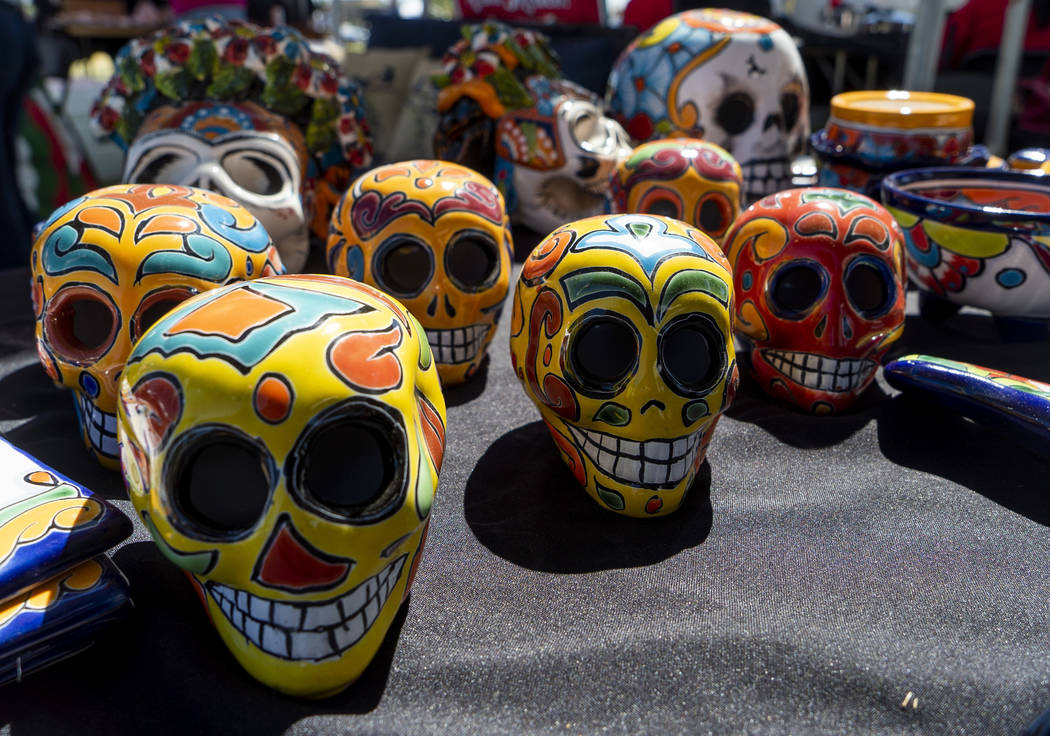 Mexican skulls photographed at the El Tiempo Fiesta Las Vegas at Craig Ranch Regional Park in North Las Vegas, Saturday, Sept. 15, 2018.(Marcus Villagran/Las Vegas Review-Journal) @marcusvillagran
