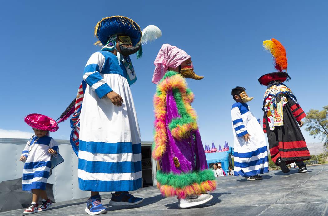 Las Vegas residents perform a traditional dance at the El Tiempo Fiesta Las Vegas at Craig Ranch Regional Park in North Las Vegas, Saturday, Sept. 15, 2018.(Marcus Villagran/Las Vegas Review-Journ ...