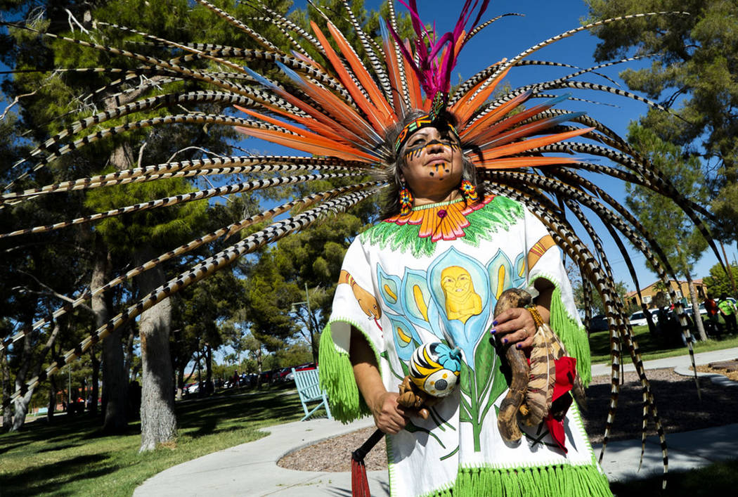 Maria Huehueicoyotl celebrates Hispanic Heritage at the El Tiempo Fiesta Las Vegas at Craig Ranch Regional Park in North Las Vegas, Saturday, Sept. 15, 2018.(Marcus Villagran/Las Vegas Review-Jour ...