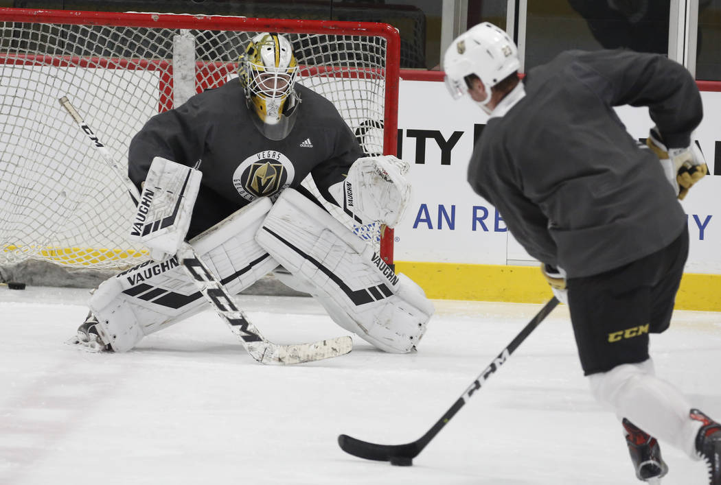 Golden Knights goalie Jiri Patera keeps his eye on the puck during Knights rookie camp practice at City National Arena in Las Vegas on Friday, Sept. 7, 2018, in Las Vegas. (Bizuayehu Tesfaye/Las V ...
