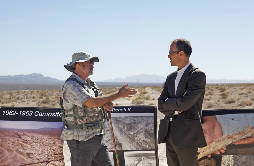 Michael Anderson, left, speaks to Andrew Lingenfelter at an event unveiling the new Ice Age Fossils State Park visitor center plans in Las Vegas, Thursday, Sept. 13, 2018. It's the first new state ...