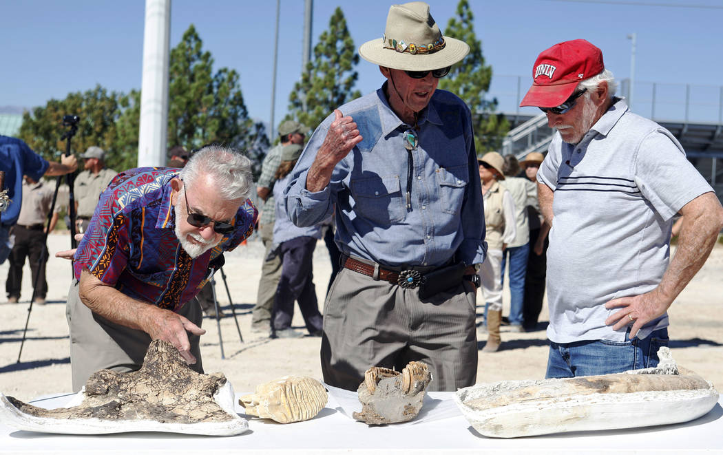 Bill McKinnis, from left, Harold Larson, and Stephen Rowland look over fossils on display at an event unveiling the new Ice Age Fossils State Park visitor center plans in Las Vegas, Thursday, Sept ...