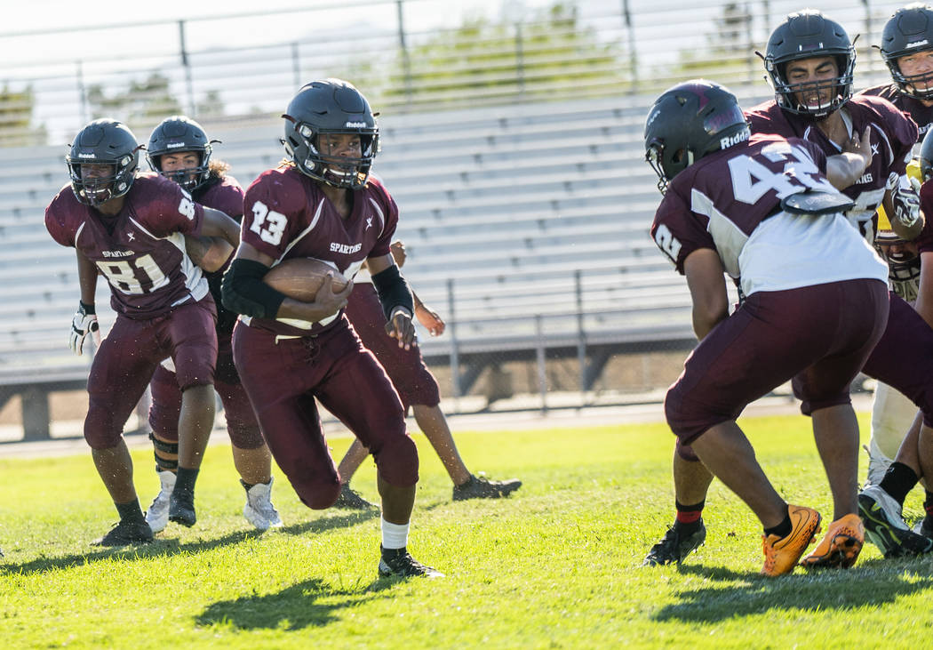 Running back Jordan Norwood (23), junior, practices at Cimarron-Memorial High School in Las Vegas, Tuesday, Sept. 11, 2018. (Marcus Villagran/Las Vegas Review-Journal) @marcusvillagran
