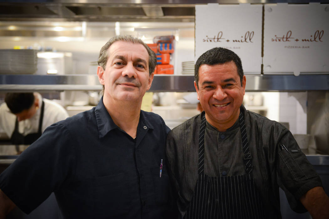 Chef Angelo Auriana, left, a founder of The Factory Kitchen brand, and Eduardo Perez, who will be executive chef of the restaurant that is to open at The Venetian in December.