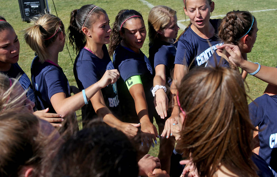 Members of Centennial High School's women's soccer cheer for Brooke before a game against Palo Verde High school at Centennial High School in Las Vegas, Wednesday, Sept. 12, 2018. Hawley died in a ...