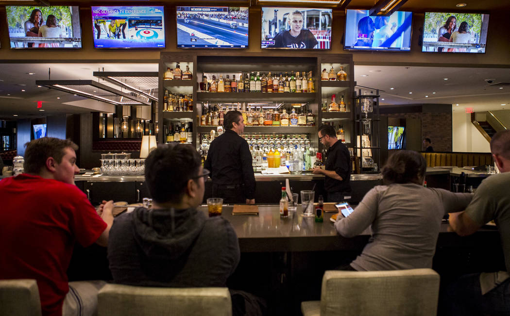 Customers sit at the bar at the new restaurant Jake & Eli, which replaced the casino floor at the Westin Las Vegas, on Wednesday, Feb. 14, 2018. Patrick Connolly Las Vegas Review-Journal @PCo ...