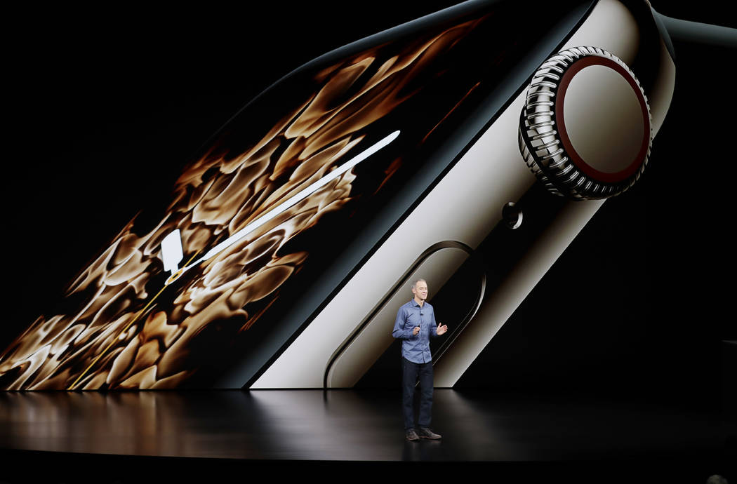 Jeff Williams, Apple's chief operating officer, speaks about the Apple Watch Series 4 at the Steve Jobs Theater during an event to announce new Apple products Wednesday, Sept. 12, 2018, in Cuperti ...
