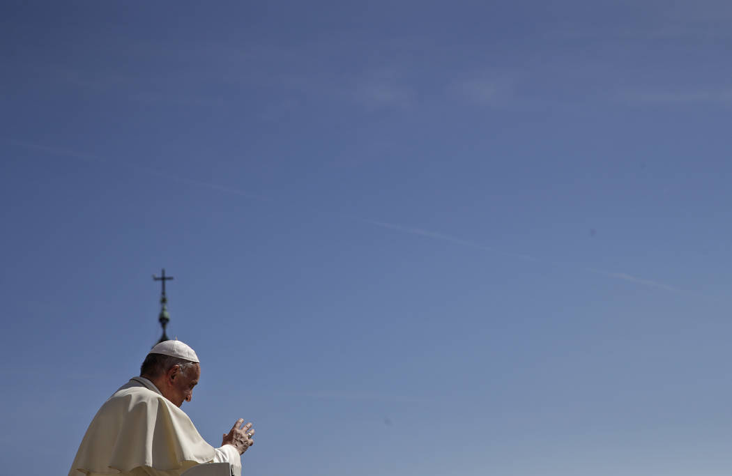Pope Francis leaves s at the end of his general audience in St. Peter's Square at the Vatican Wednesday, Sept. 12, 2018. (AP Photo/Alessandra Tarantino)