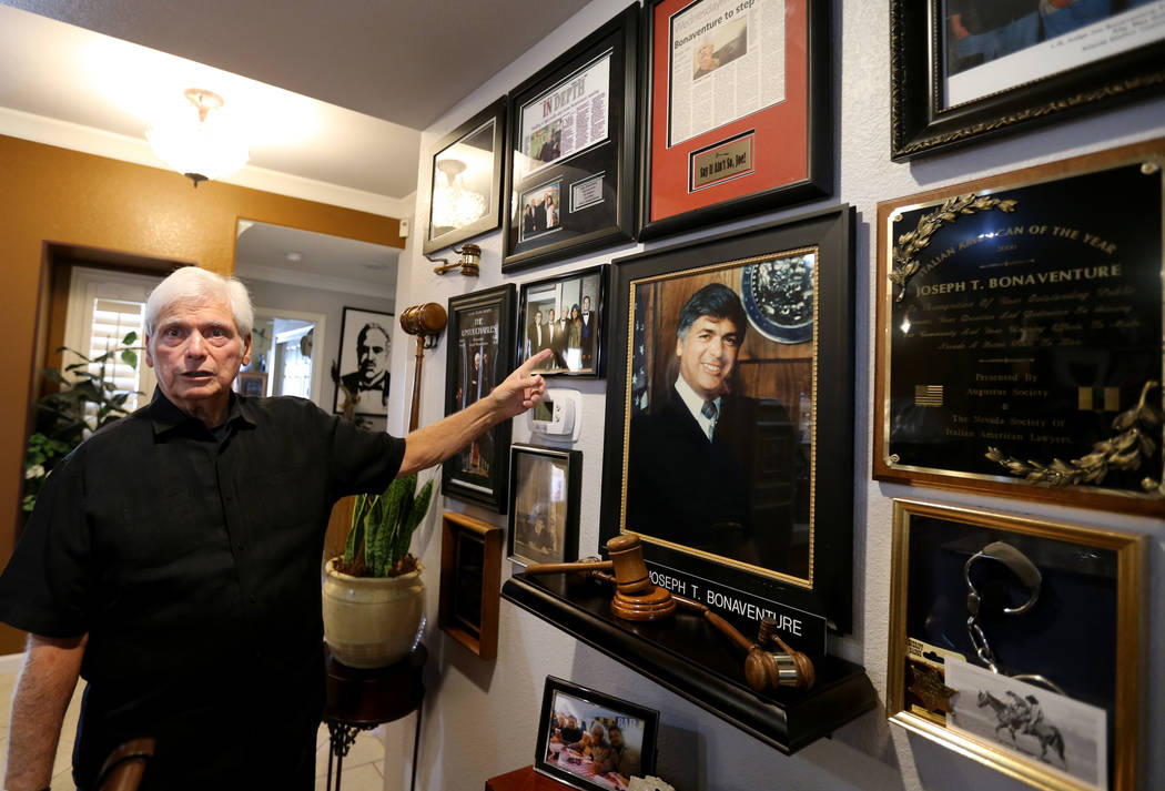 Senior District Judge Joseph Bonaventure, with memorabilia from his years on the bench, at his Las Vegas home on Aug. 31, 2018. Bonaventure oversaw the trials of Rick Tabish and Sandy Murphy, who ...