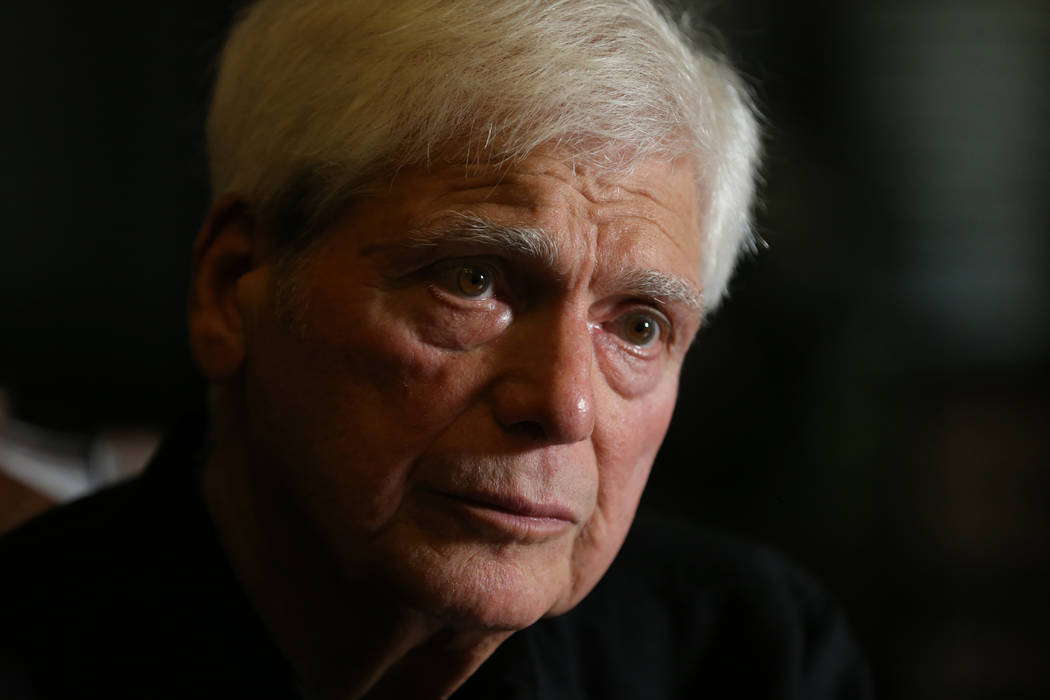 Senior District Judge Joseph Bonaventure talks to a reporter at his Las Vegas home on Aug. 31, 2018. Bonaventure oversaw the trials of Rick Tabish and Sandy Murphy, who were convicted and later ac ...