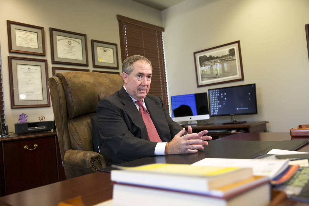 Former Clark County District Attorney David Roger, who prosecuted Rick Tabish and Sandy Murphy in the first trial over Ted Binion's death, during an interview at his Las Vegas office on Aug. 27, 2 ...