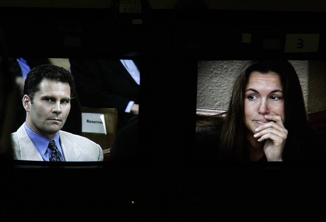 Rick Tabish and Sandy Murphy are shown on television monitors in court during the Ted Binion murder trial in November 2004. (File Photo)
