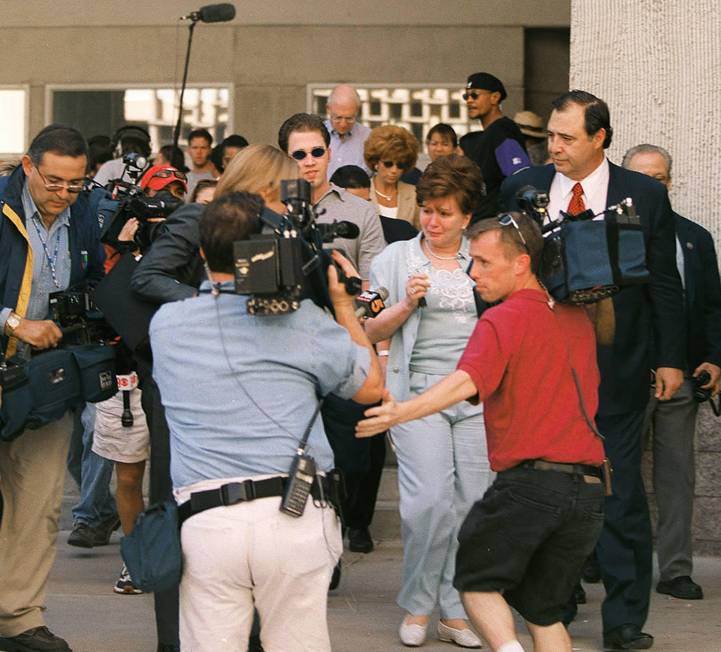 Becky Behnen leaves the courthouse in May 2000 after defendants Rick Tabish and Sandy Murphy were found guilty. (File Photo)
