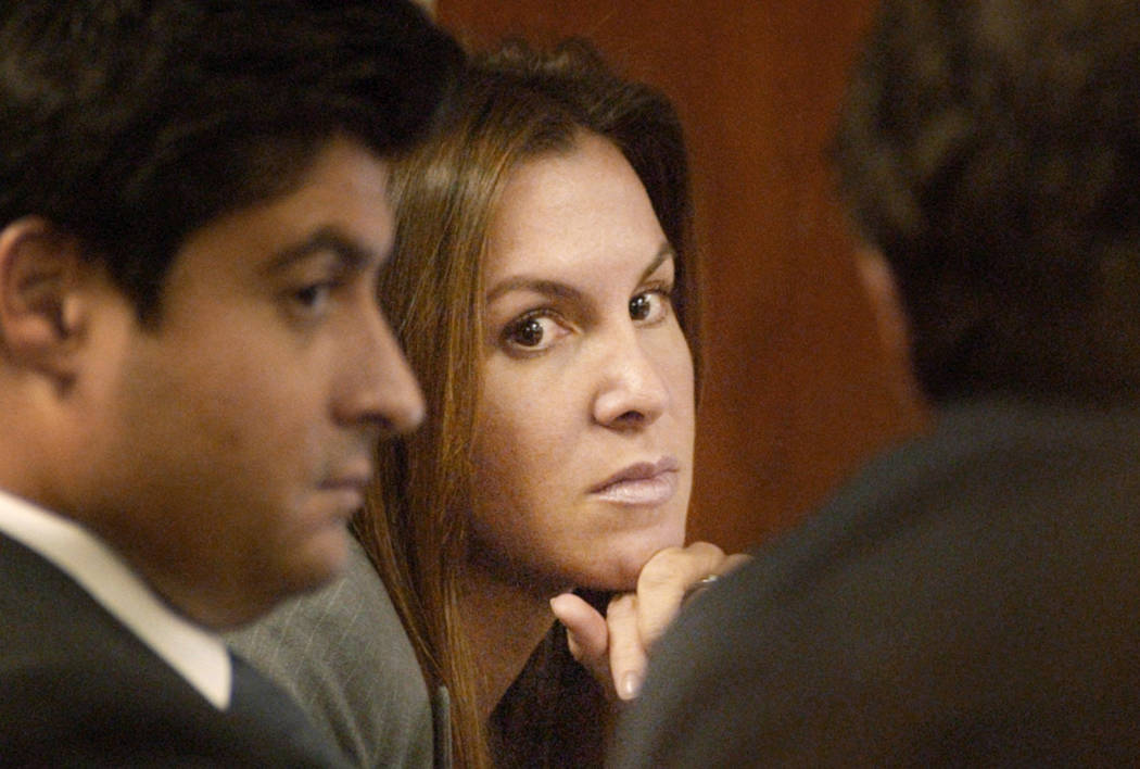 Sandy Murphy listens to testimony with her attorneys in October 2004 during the second murder trial related to the death of Ted Binion. (File Photo)