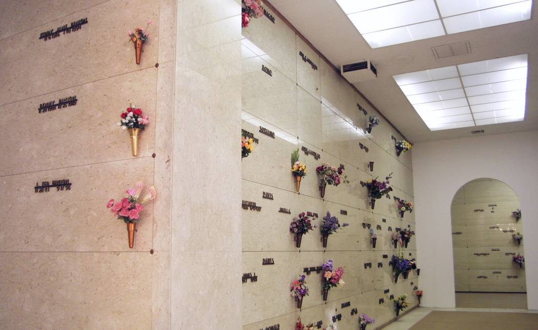Members of the Binion family are entombed in a mausoleum at Bunkers Eden Vale Cemetery on Las Vegas Boulevard North. The Binion section, left, is just around the right corner of the entrance to th ...