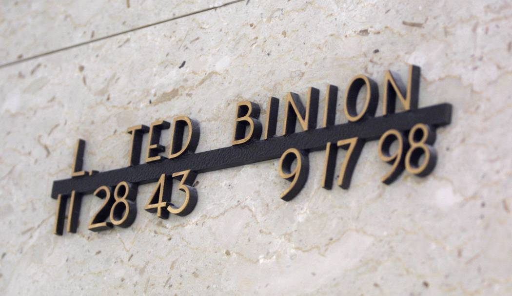 Members of the Binion family, including Ted Binion, are entombed in a mausoleum at Bunkers Eden Vale Cemetery on Las Vegas Boulevard North. (File Photo, January 2004)