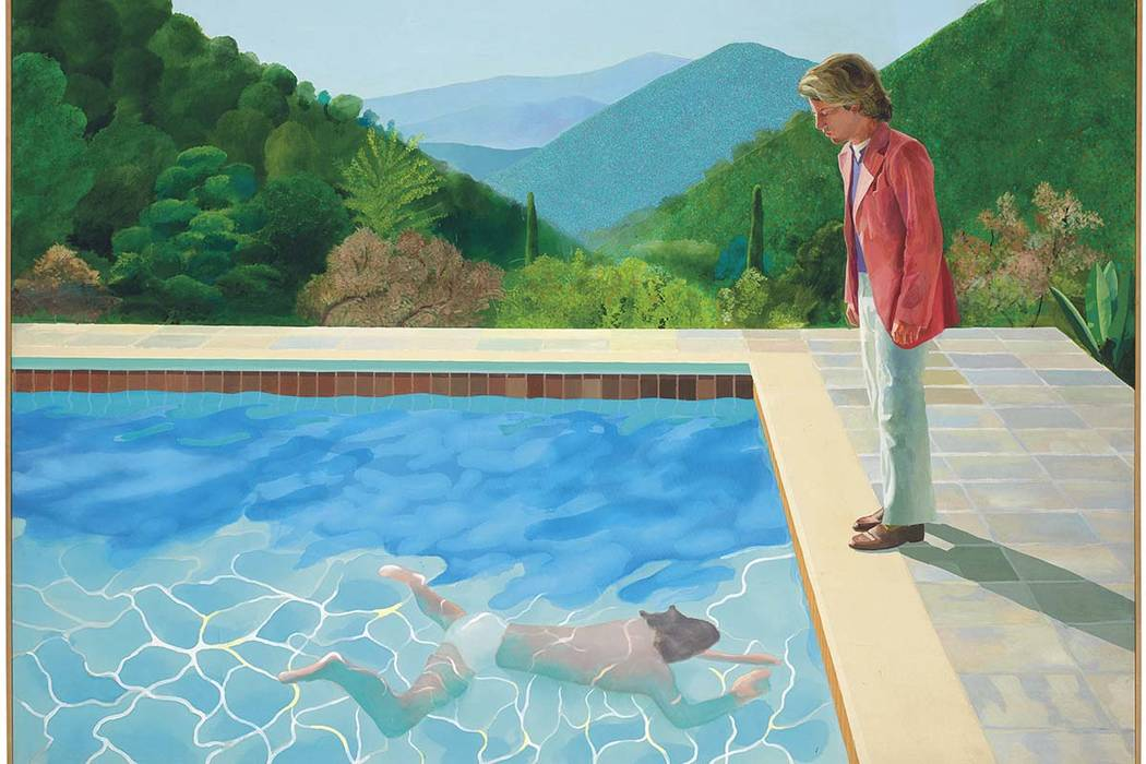 "This undated photo provided by Christie's Images Ltd. 2018, shows a painting by David Hockney entitled ""Portrait of an Artist (Pool with Two Figures)."" Christie's expects the painting to ..."