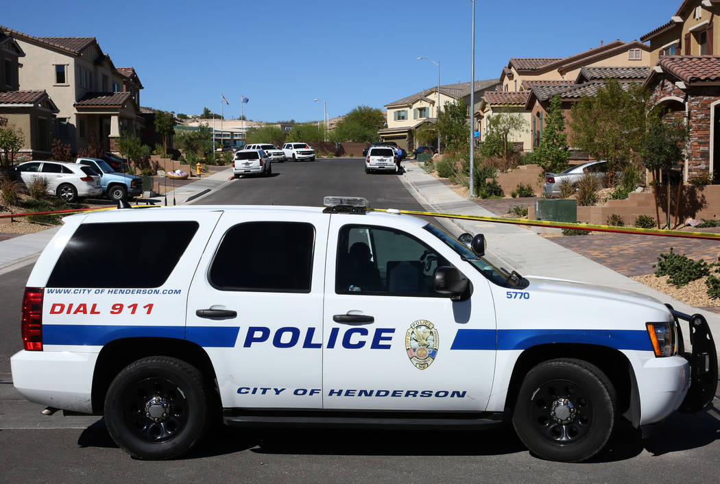 Henderson police are investigating an officer-involved shooting in the 1500 block of Point Vista Avenue, near Patrick Lane and Whitney Ranch Drive, on Thursday, Sept. 13, 2018, in Henderson. (Bizu ...