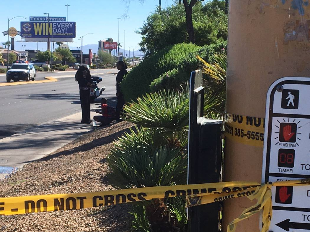 Las Vegas police investigate after a child was hit by a vehicle on Lake Mead Boulevard near Tenaya Way in northwest Las Vegas, Thursday morning, Sept. 13, 2018. (Michael Quine/Las Vegas Review-Jou ...