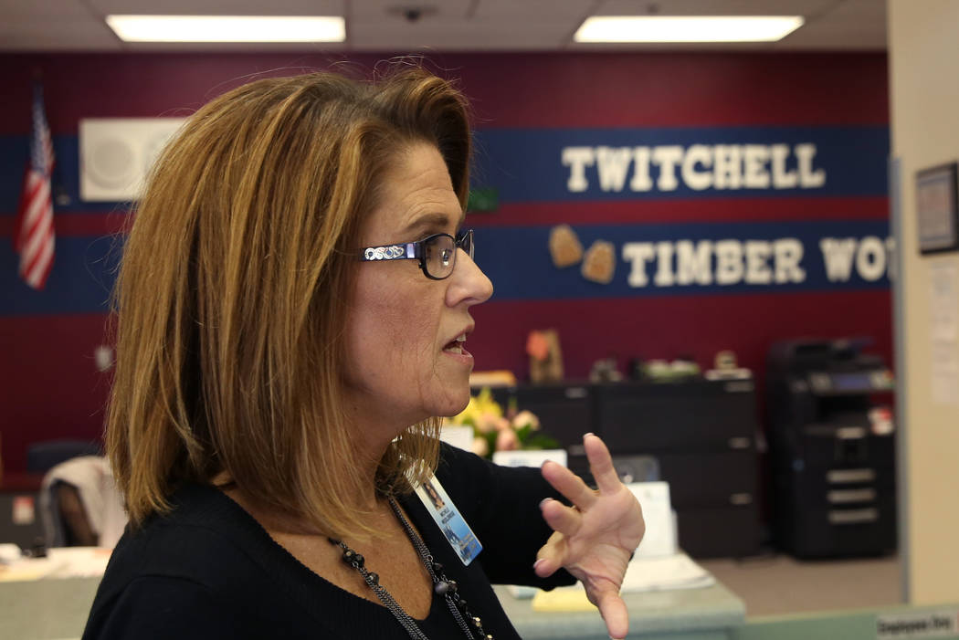 Michele Wooldridge, Twitchell Elementary School principal, speaks during an interview with the Las Vegas Review-Journal on Thursday, Sept. 13, 2018, in Henderson. (Bizuayehu Tesfaye/Las Vegas Revi ...