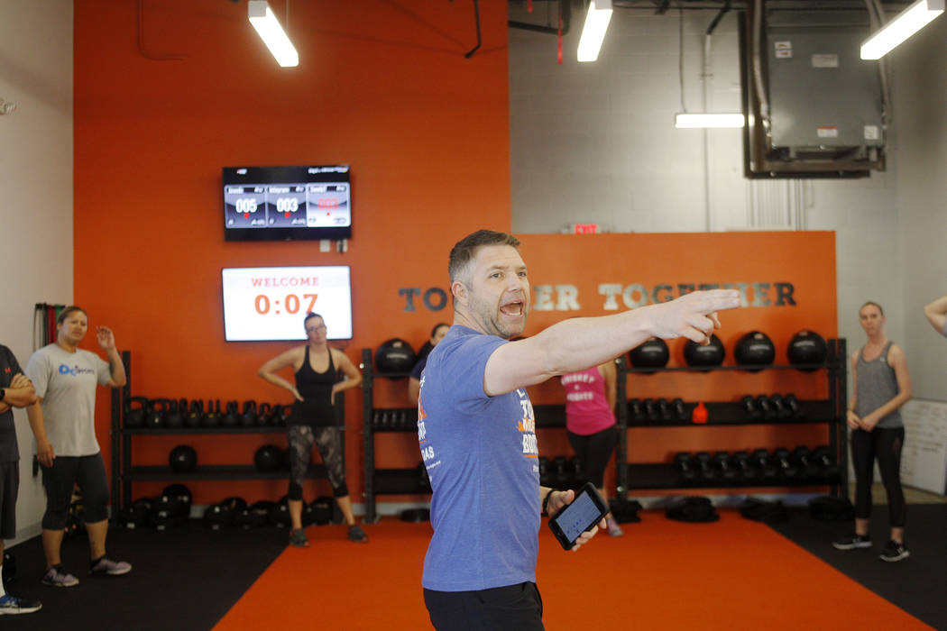 Cory Drumright, a head coach, leads a Tough Mudder Bootcamp class in Las Vegas, Sunday, Sept. 16, 2018. Rachel Aston Las Vegas Review-Journal @rookie__rae