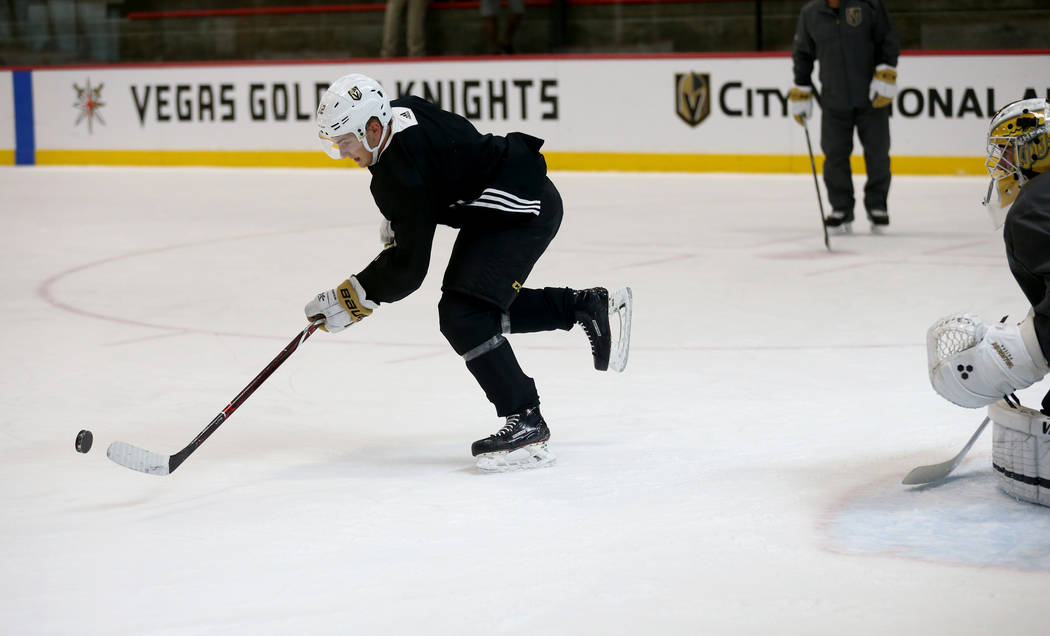 Vegas Golden Knights defenseman Erik Brannstrom (12) during practice at City National Arena Monday, Sept. 10, 2018. K.M. Cannon Las Vegas Review-Journal @KMCannonPhoto
