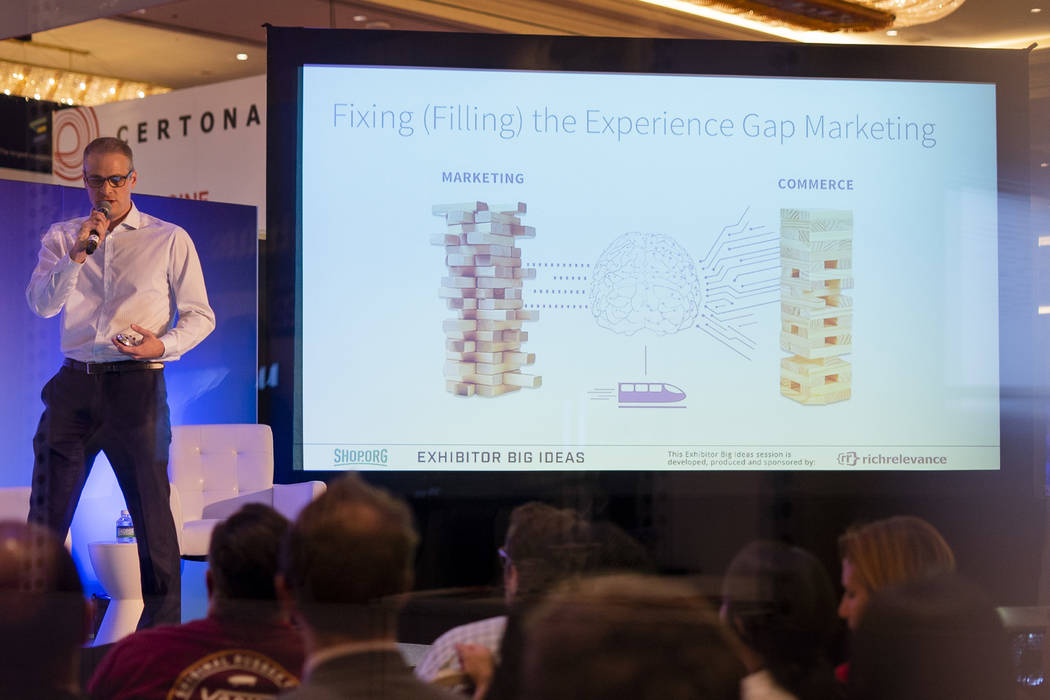 Bertrand Gouffault, senior director worldwide solution engineering for RichRelevance, speaks at Shop.org 2018 at Sands Expo in Las Vegas, Thursday, Sept. 13, 2018. (Marcus Villagran/Las Vegas Revi ...