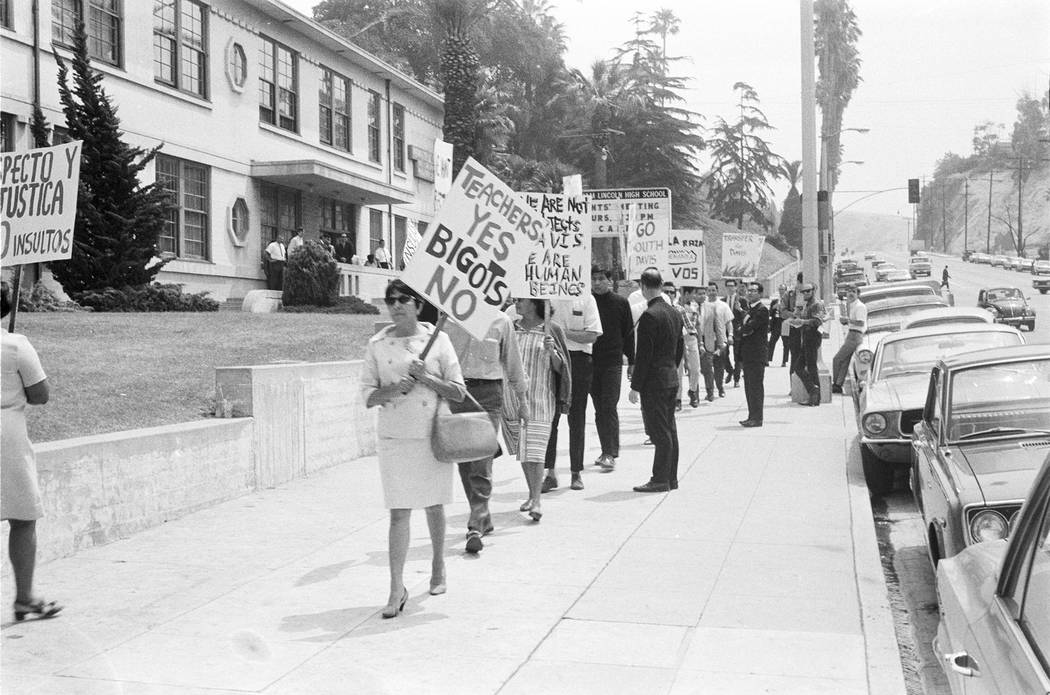 Date: 1968 Series/event: Lincoln High School Walkouts Title/caption: Protesters demonstrate against Principal Davis at Lincoln High School. Historical note: Lincoln High School was one of the p ...