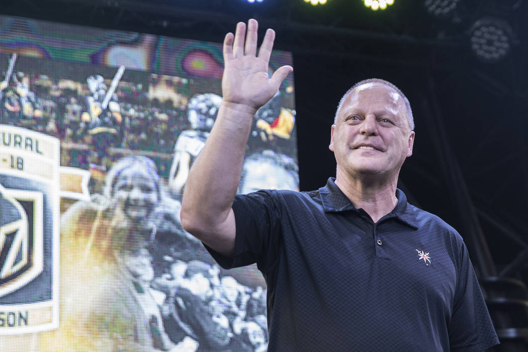 "Golden Knights coach Gerard Gallant waves at fans during ""Stick Salute to Vegas and Our Fans"" on Wednesday, June 13, 2018, at the Fremont Street Experience, in Las Vegas. (Benjamin Hager Las V ..."