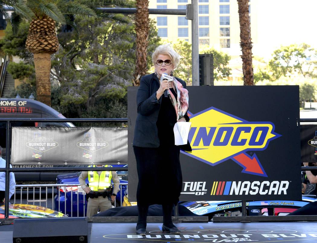 Las Vegas Mayor Carolyn G. Goodman welcomes NASCAR fans and drivers as they prepare to parade down the Las Vegas Strip. Thursday, September 13, 2018. CREDIT: Glenn Pinkerton/Las Vegas News Bureau