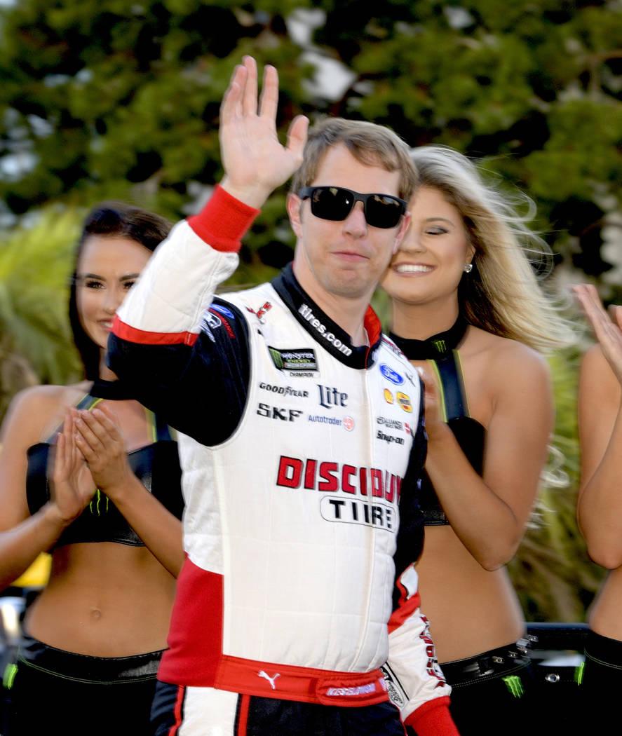 NASCAR driver Brad Keselowski is introduced to fans as he prepares to Jump in his car for the NASCAR Parade down the Las Vegas Strip.Ê Thursday, September 13, 2018. CREDIT: Glenn Pinkerton/La ...