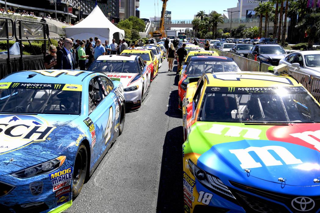 NASCAR Parade and Burnouts on the Las Vegas Strip. Thursday, September 13, 2018. CREDIT: Glenn Pinkerton/Las Vegas News Bureau