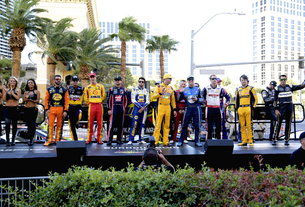 NASCARÕs top 16 drivers are introduced to fans before they jump in their cars and parade down the Las Vegas Strip. Thursday, September 13, 2018. CREDIT: Glenn Pinkerton/Las Vegas News Bureau