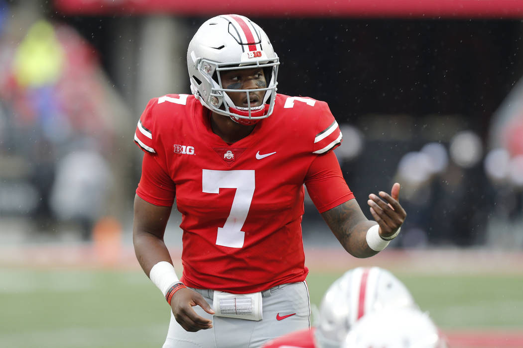 In this Sept. 8, 2018 photo Ohio State quarterback Dwayne Haskins plays against Rutgers during an NCAA college football game in Columbus, Ohio. Haskins put up huge numbers in lopsided home wins ov ...